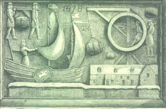 1.PORTERS STONE Dated 1678 showing wine casks being unloaded from a boat