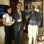 Mike Miyamoto Global Brand ambassador for Suntory with Tulleeho's Vikram Achant and Sweta Mohanty