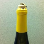 Wine bottle with a protruding cork